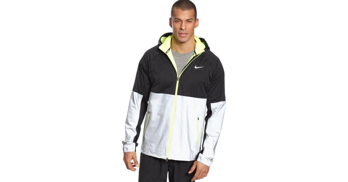 5f4338b133eb Lyst - Nike Shield Flash Hooded Running Jacket in Black for Men