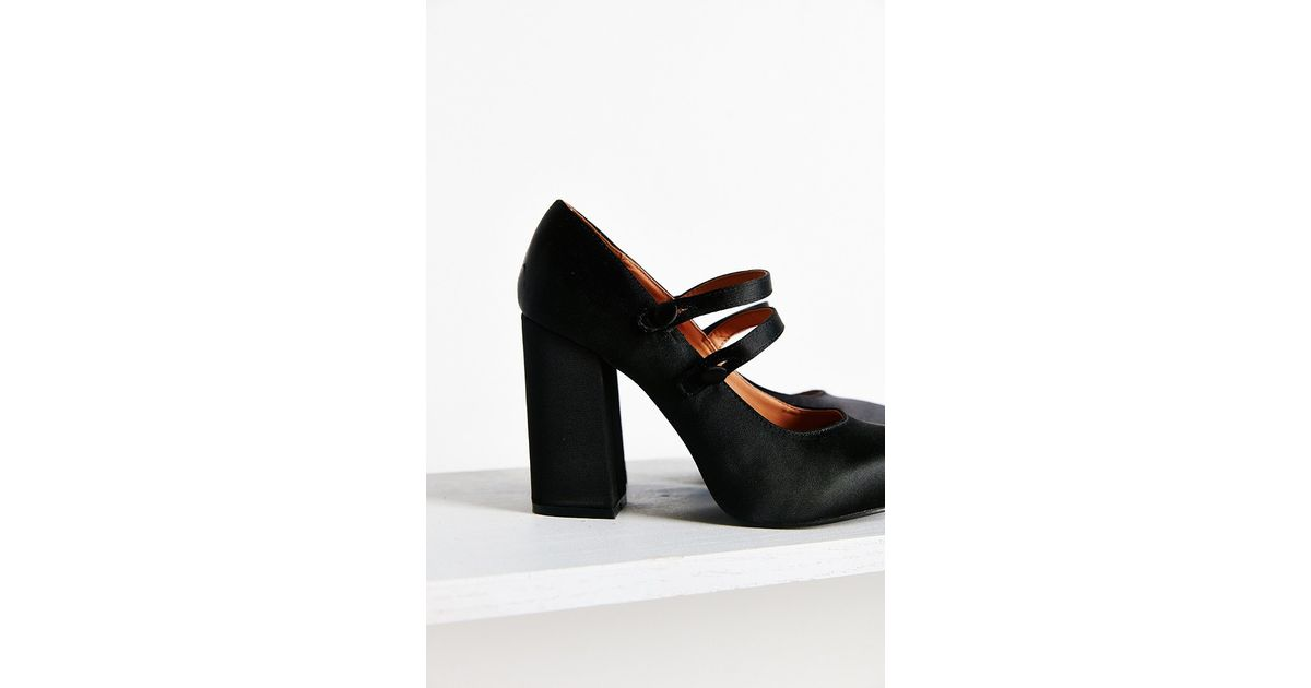 218415c4169 Lyst - Urban Outfitters Agnes Satin Double Strap Heel in Black