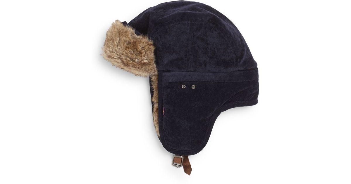 c03854157ce72 Lyst - Original Penguin Jimmy Van Faux Fur-trimmed Trapper Hat in Blue for  Men