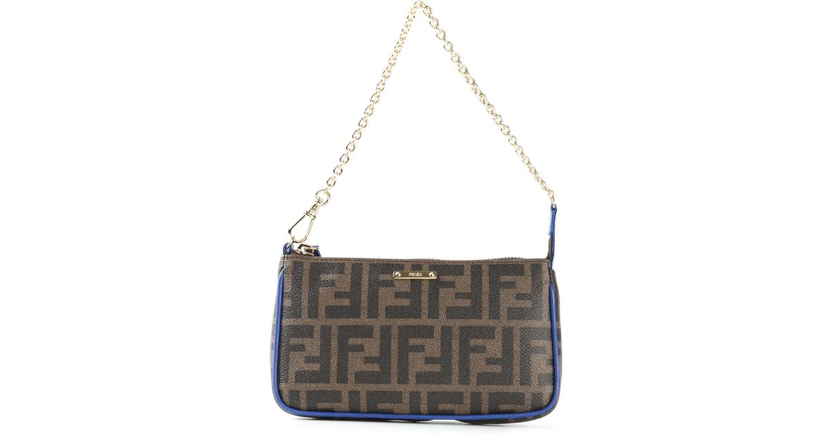 be84f19a0c Lyst - Fendi Small Ff Logo Shoulder Bag in Brown