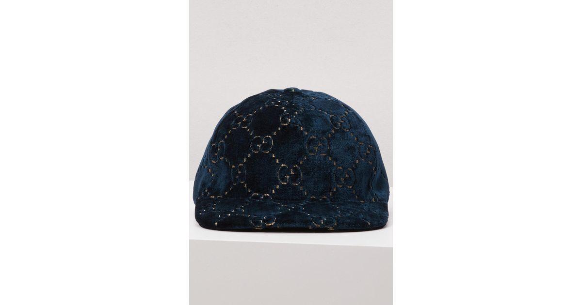 c4a68df2a13 Gucci GG Velvet Baseball Cap In Blue in Blue - Lyst