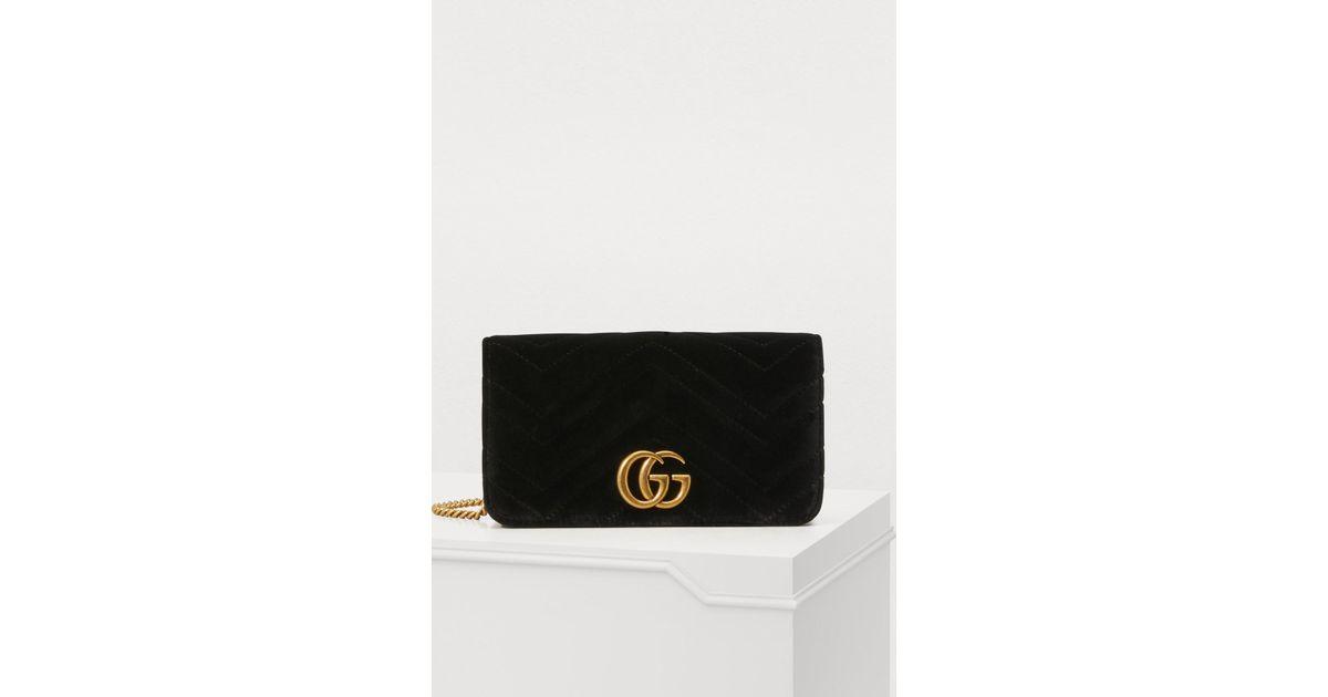 92f67c19947 Gucci GG Marmont Velvet Supermini Bag in Black - Lyst