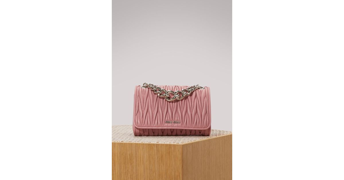 94fc4d04ff1d Miu Miu Club Matelassé Bag in Pink - Lyst