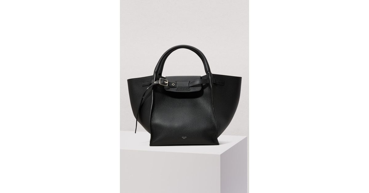 Lyst Céline Small Bag With Long Strap In Supple Grained Calfskin Black