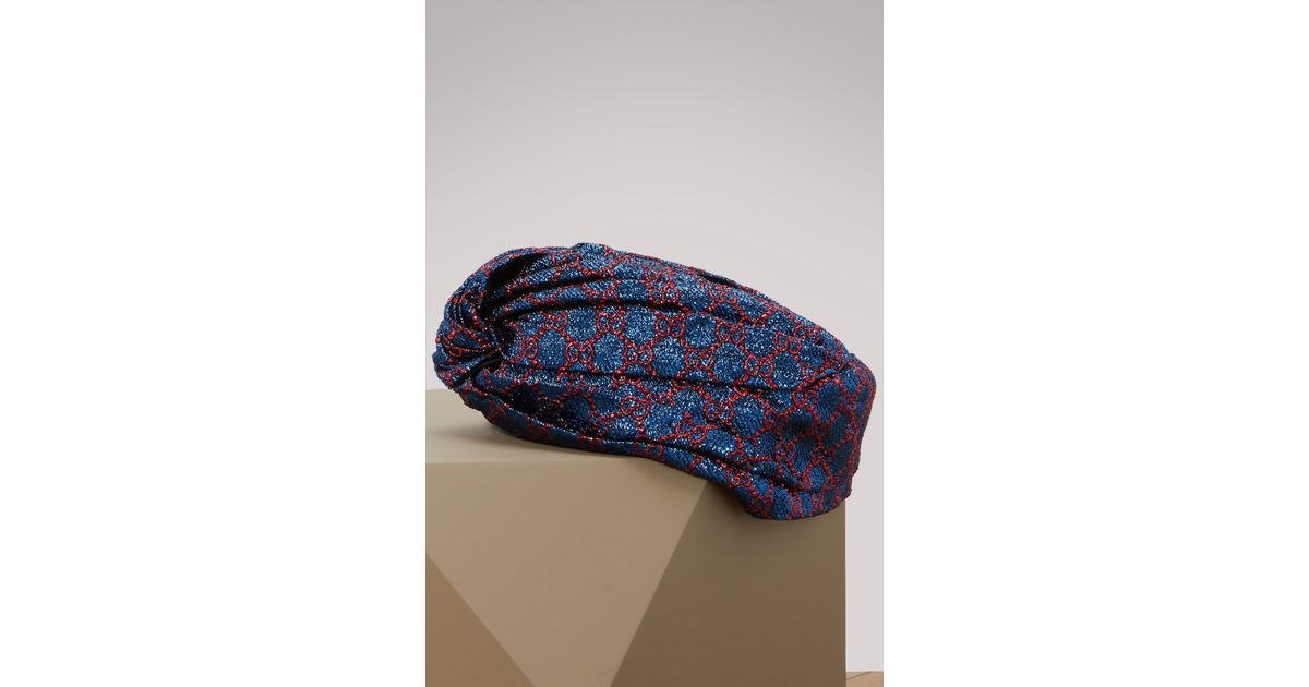 f575ad45 Gucci GG Lurex Turban in Blue - Lyst