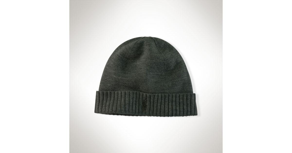 9a074734e7f Polo Ralph Lauren Merino Wool Watch Cap in Gray for Men - Lyst