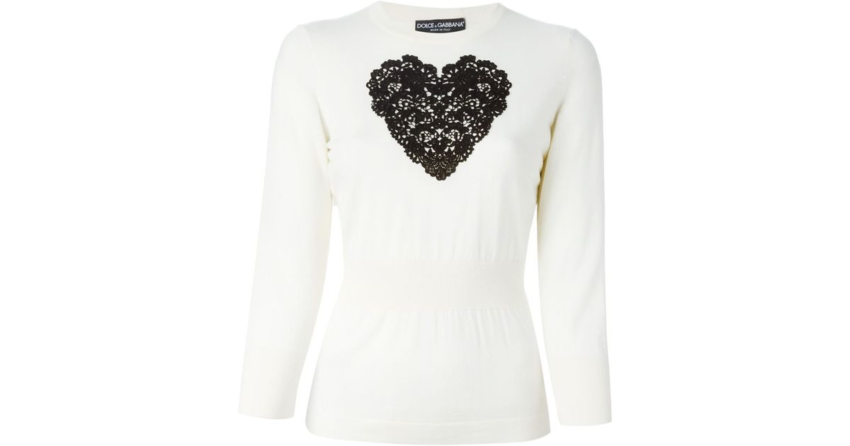 Lyst dolce gabbana sacred heart appliqué sweater in white