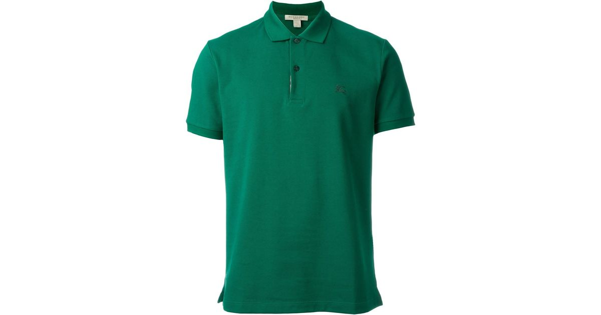 Burberry Brit Logo Polo Shirt In Green For Men Lyst