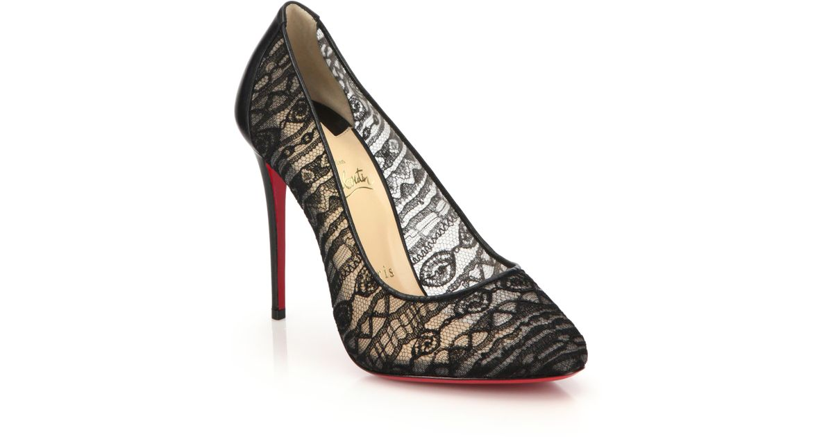 81a83f394c5 ... discount lyst christian louboutin dorissima lace and leather pumps in  black 0e850 86f28
