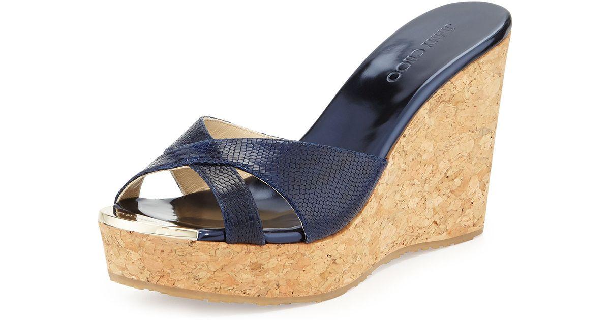 d3148ad39b7b Jimmy Choo Pandora Snakeprint Wedge Slide Sandal in Blue - Lyst