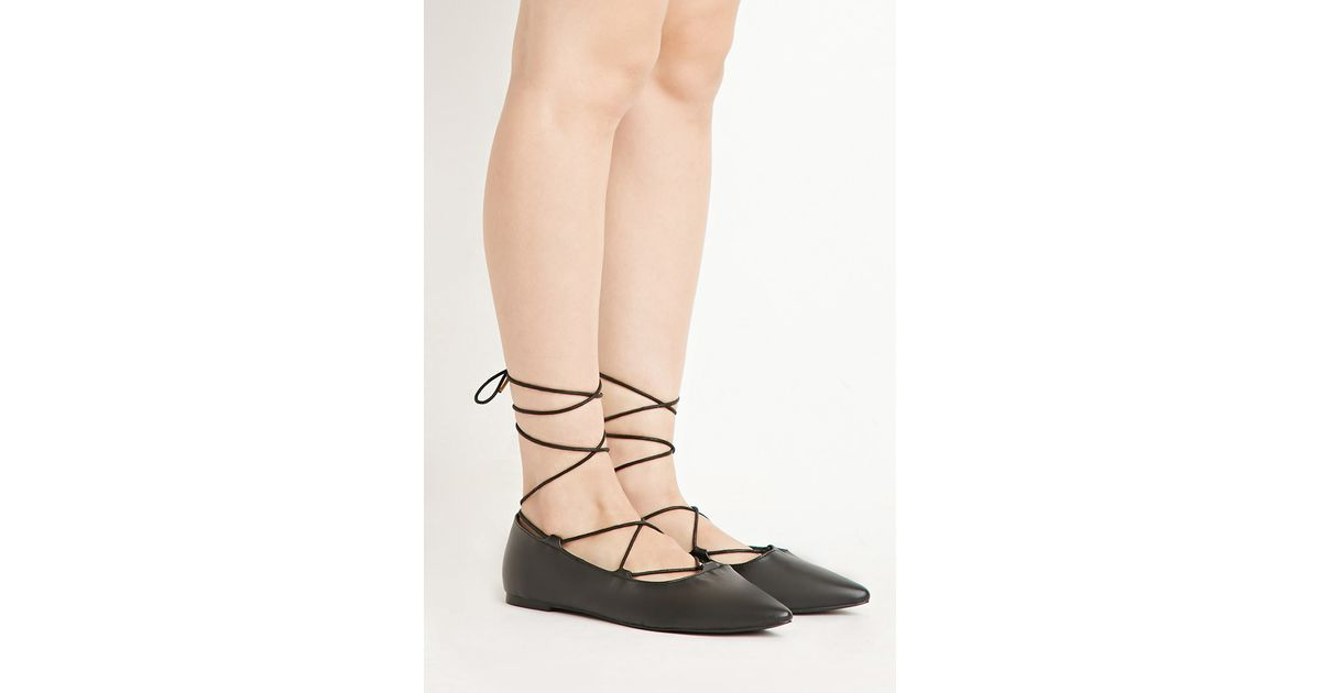 Lyst - Forever 21 Faux Leather Lace-up Flats in Black ab9f156b17