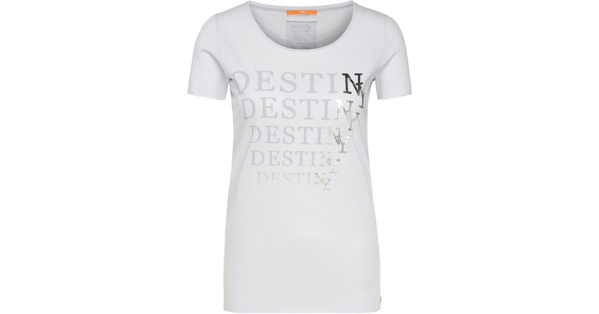 2017ee658 Boss Orange T-shirt With Printed Front Motif In Cotton: 'tashirt' in White  - Lyst