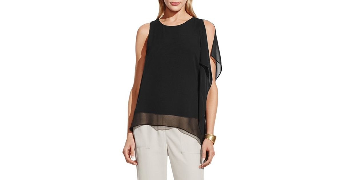 a9506147726 Vince Camuto - Black Sleeveless Top With Asymmetrical Chiffon Overlay - Lyst