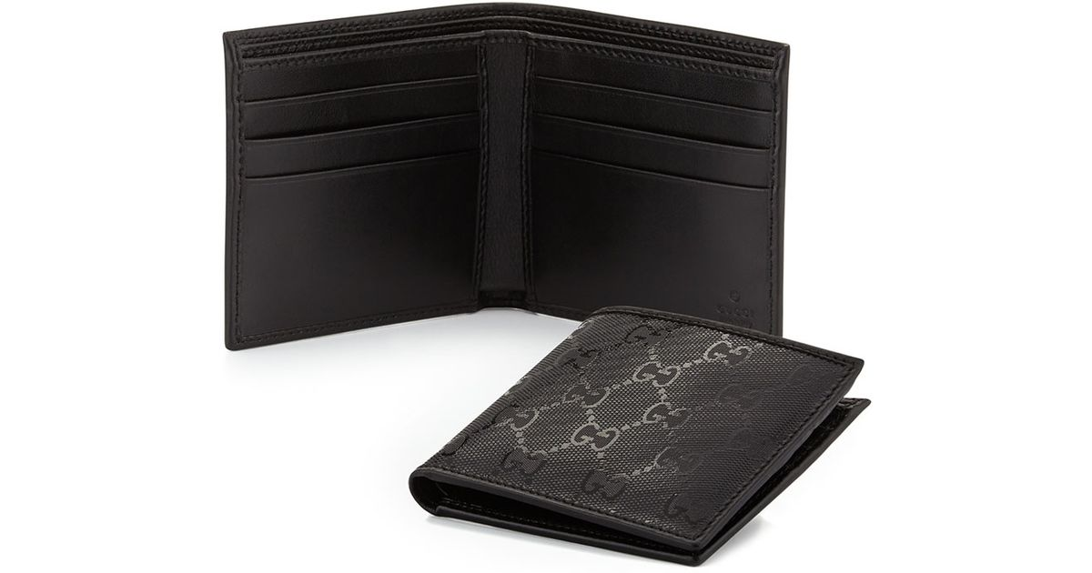23a3fb29139 Lyst - Gucci Gg Imprime Leather Bi-fold Wallet in Black for Men