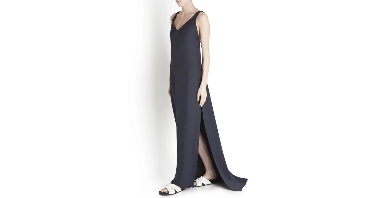 38bb3e61f8c Rosetta Getty Navy Silk Twill Maxi Dress in Blue - Lyst
