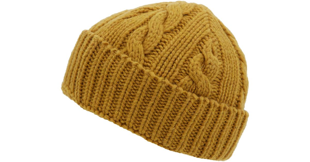 ab85fc94534 Lyst - Oliver Spencer Mustard Cable Knit Woolblend Beanie Hat in Yellow for  Men