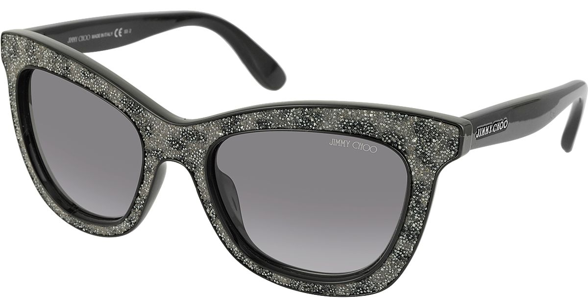 48c2830539ae Jimmy Choo Flash/s Ibweu Black & Grey Glitter Cat Eye Sunglasses in Black -  Lyst