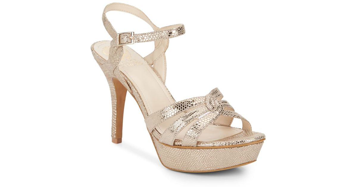 fa4389782f8 Lyst - Vince Camuto Princey Metallic Leather Platform Sandals in Natural