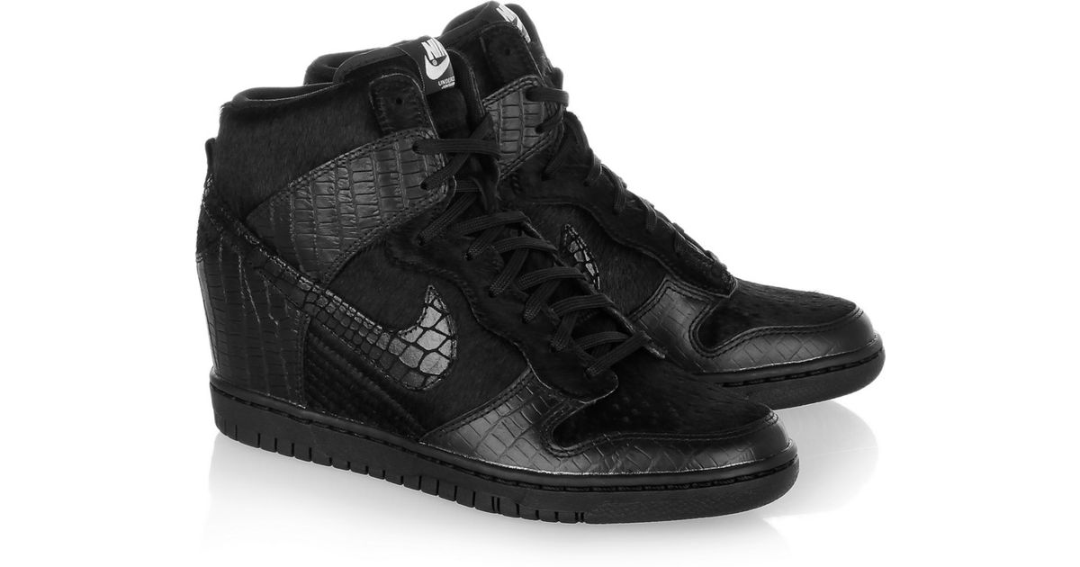 sports shoes 70874 baeee Nike Undercover Dunk Sky Hi Leather and Faux Calf Hair Sneakers in Black -  Lyst