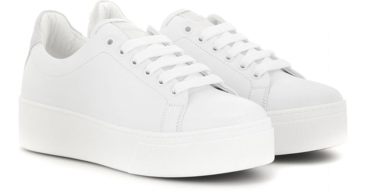 White Leather Platform Sneakers 28 Images Smith Racerr
