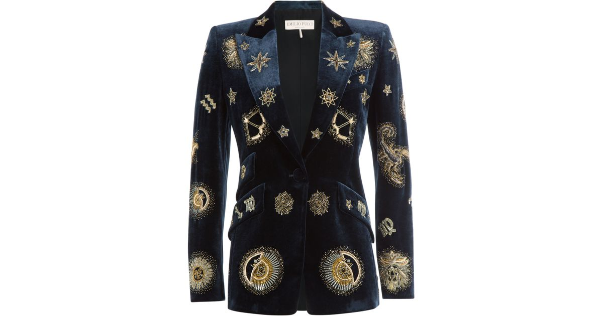 f8f6551b4706 Lyst - Emilio Pucci Embroidered Velvet Blazer - Blue in Blue
