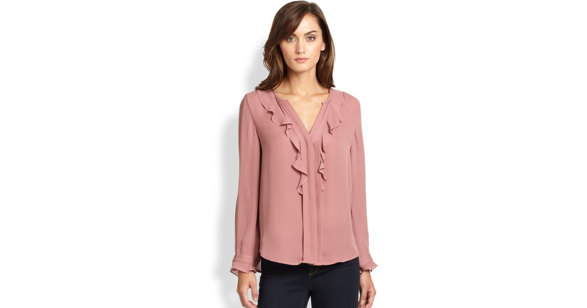6bb33d38c830aa Lyst - Joie Jayanne Silk Ruffled Blouse in Pink