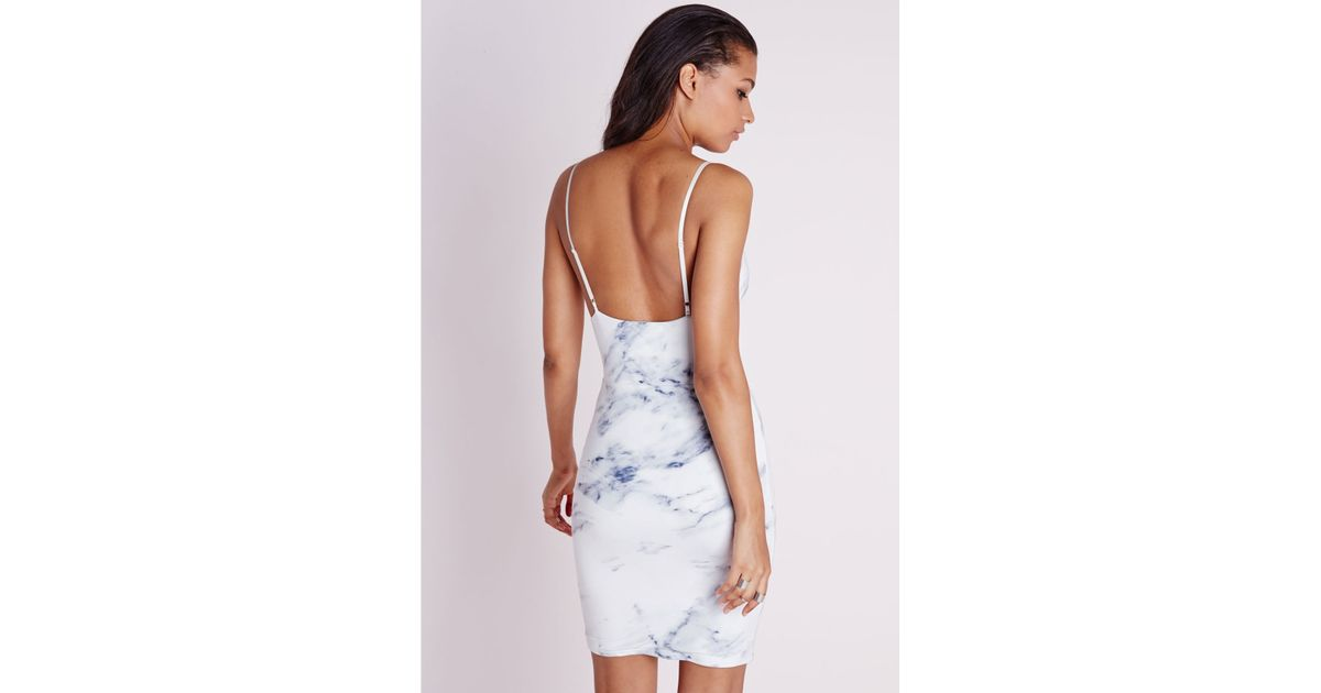 f3fd1c52e5fa Lyst - Missguided Slinky Strappy Bodycon Dress Marble Print in Gray