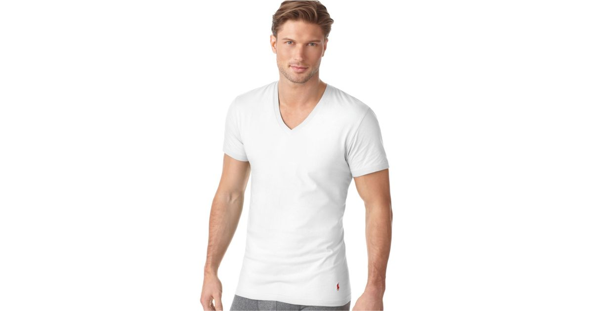 6d0e57955 Polo Ralph Lauren Ralph Lauren Men'S Underwear, Classic Cotton V Neck T  Shirt 3 Pack in White for Men - Lyst