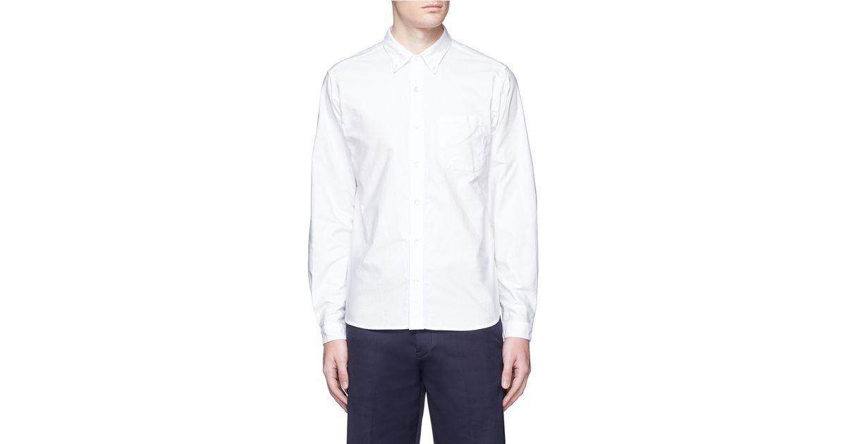 Nanamica button down collar cotton oxford wind shirt in for White button down oxford shirt