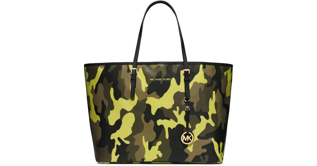 03d9ab77319f Lyst - MICHAEL Michael Kors Medium Jet Set Camo Travel Tote in Yellow