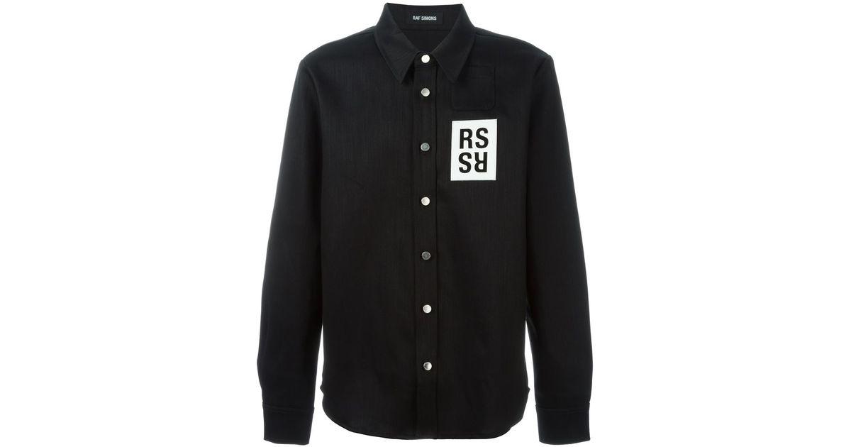 eb27a29f Lyst Raf Simons Chest Patch Denim Shirt In Black For Men