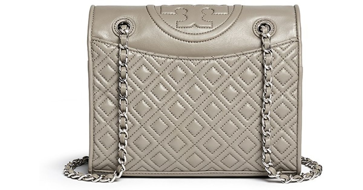 8b5de24ca7a8 Lyst - Tory Burch  fleming  Medium Quilted Leather Bag in Gray