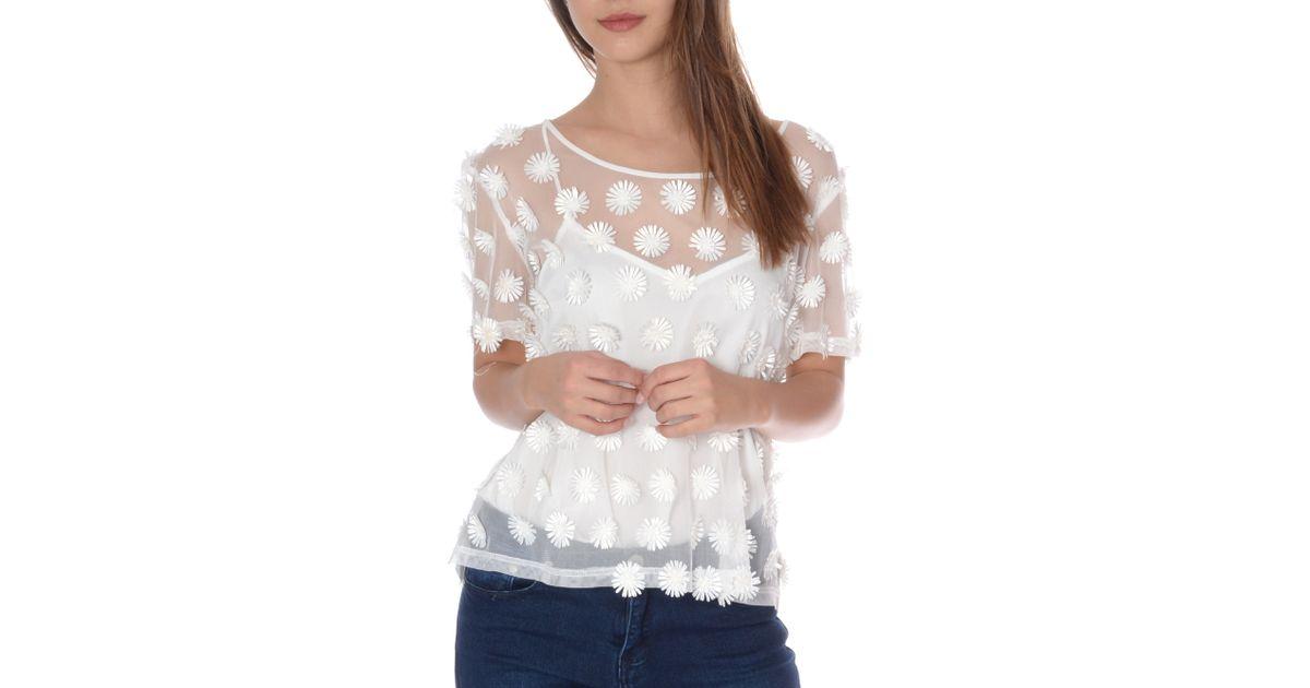 True decadence daisy applique top in white lyst