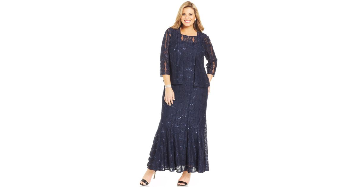 Lyst - Alex Evenings Plus Size Sequin Lace Gown And Jacket in Blue