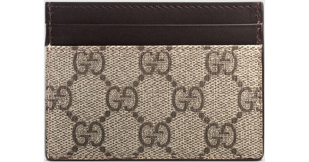 a7912e25ba8 Lyst - Gucci Gg Supreme Card Case in Natural
