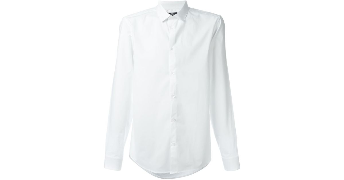 Kenzo cutaway collar shirt in white for men lyst for White cutaway collar shirt