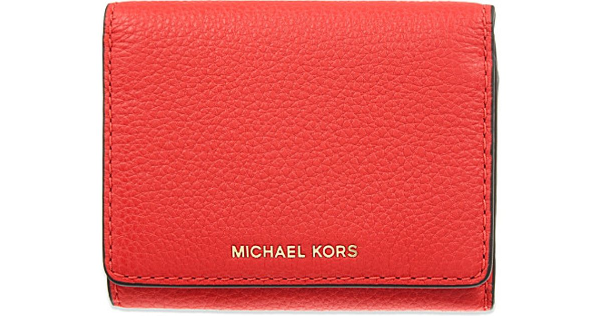 b566ed819648 Lyst - MICHAEL Michael Kors Liane Small Grained Leather Wallet in Red