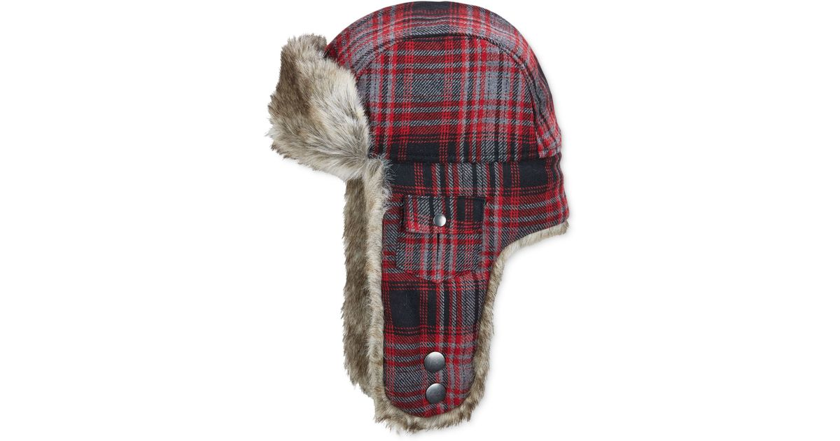 c817825fc80 Lyst - Woolrich Plaid Arctic Trapper Hat With Faux-fur Earflaps in Black for  Men