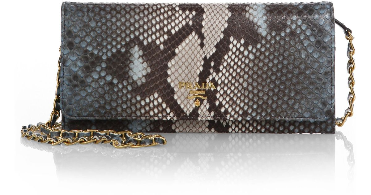 prada bags and prices - Prada Python Chain Wallet in Blue (LAGO)   Lyst