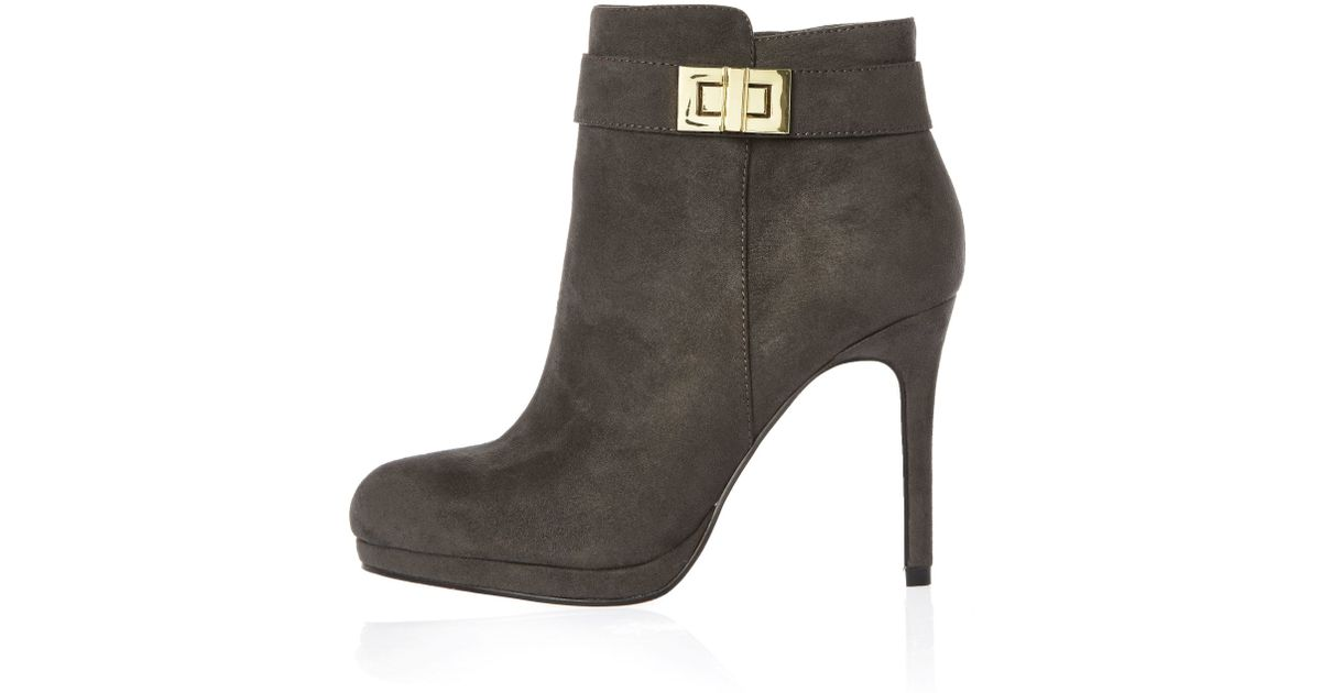 Lyst - River Island Grey Turnlock Heeled Ankle Boots in Gray