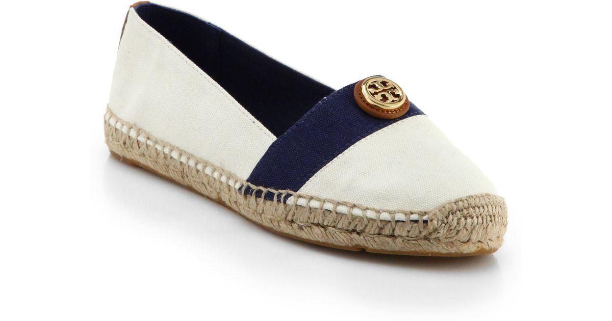 75430b2c714 ... where to buy lyst tory burch beacher canvas espadrille flats in blue  3d146 28c7d