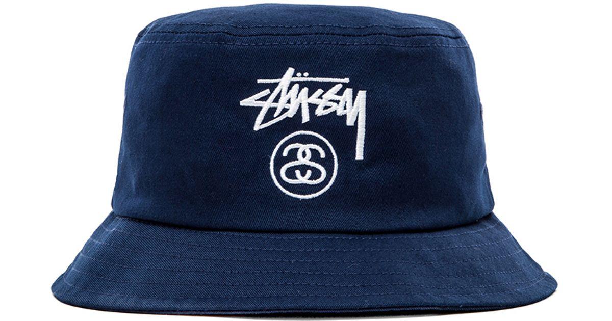 Lyst - Stussy Stock Lock Ho14 Bucket Hat in Blue for Men 5d46c35e0ce