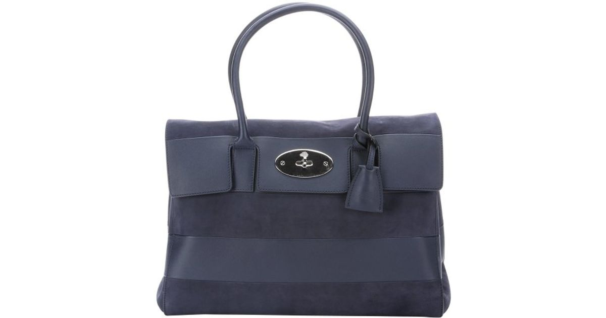 d2baabfe8238 ... coupon lyst mulberry navy blue leather and suede bayswater tote bag in  blue 978c5 70824