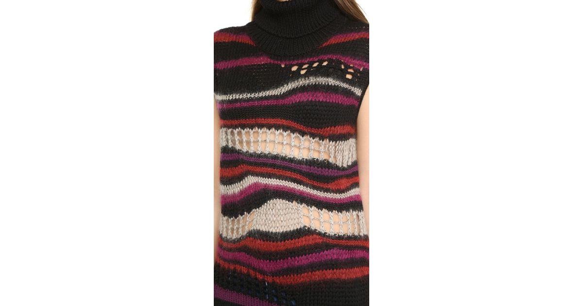 Fuzzi Sleeveless Turtleneck Sweater - Dark | Lyst