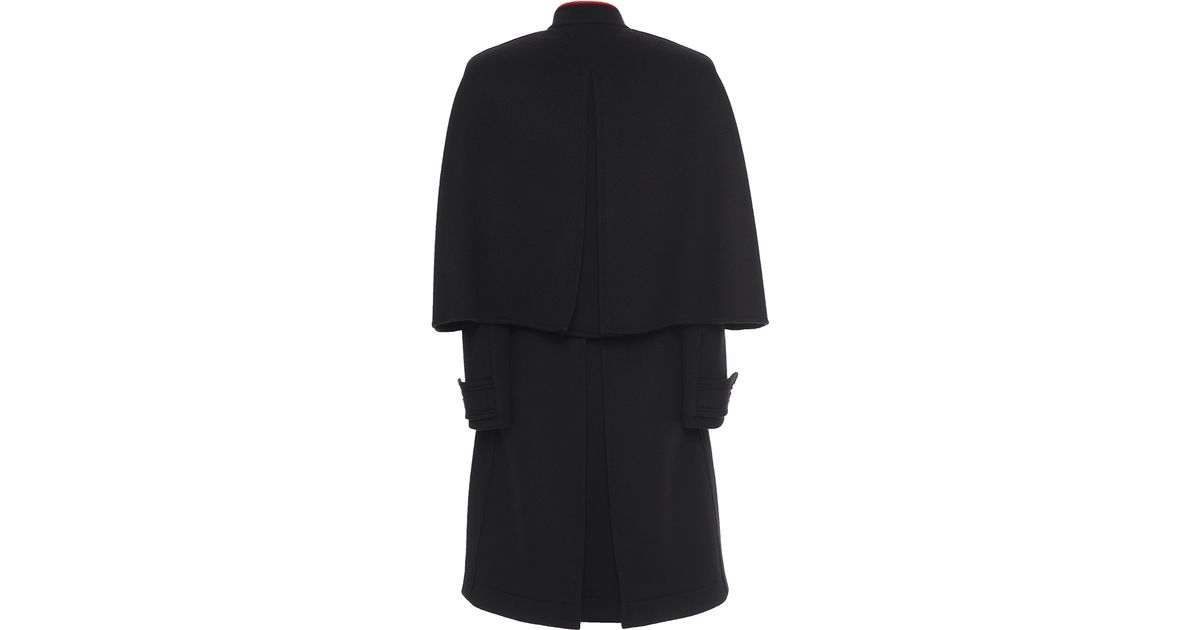 a8b363f37cd Lyst - Burberry Cashmere Military Cape Coat in Black