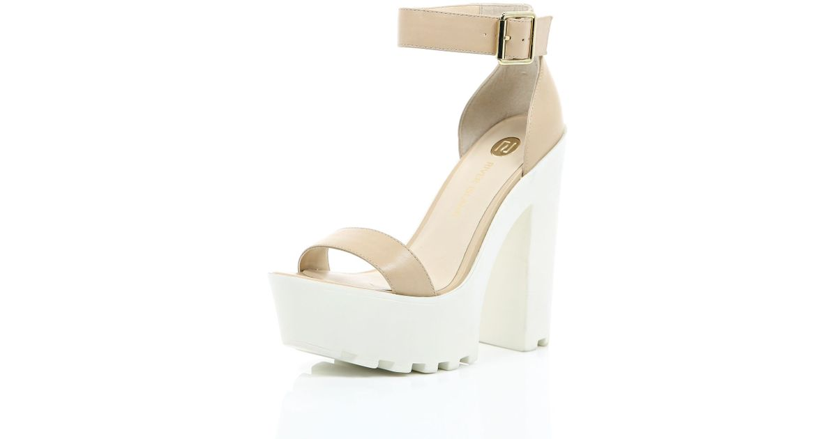 e76d31e6078 River Island Nude Leather Chunky Cleated Sole Platforms in Natural - Lyst