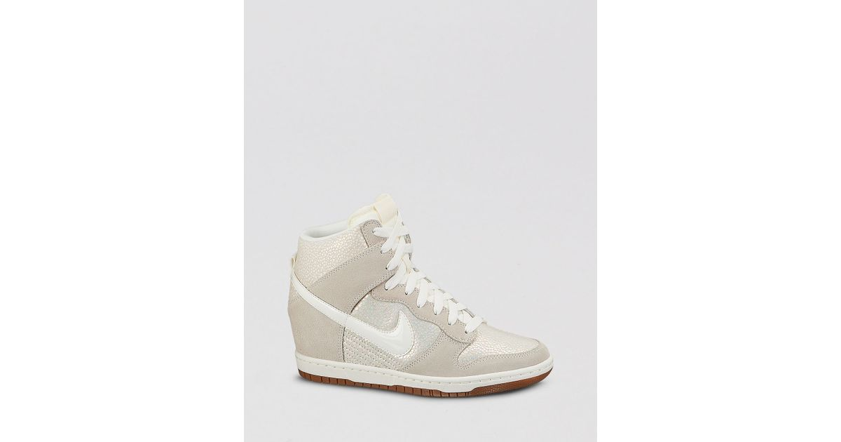 054312d48e4495 ... Nike Lace Up High Top Wedge Sneakers - Women S Dunk Sky Hi Embossed in  White ...