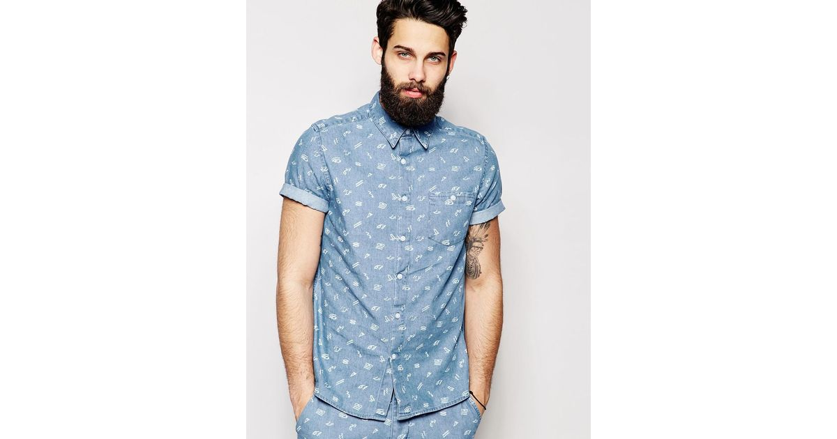 ba41637fae8 Lyst - ASOS Denim Shirt In Short Sleeve With Hieroglyphics Ditsy Print  Co-ord in Blue for Men