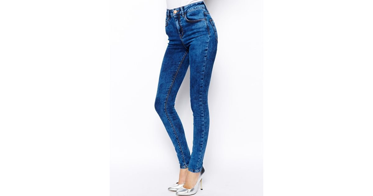 Asos Ridley High Waist Ultra Skinny Jeans in Mottled Acid Wash in ...