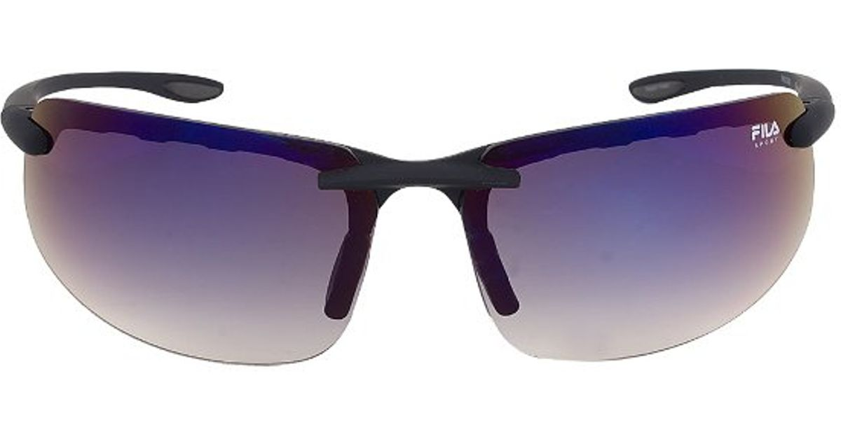 Purple Tinted Sunglasses  fila fac1042 024 matte black rimless sunglasses with blue tinted